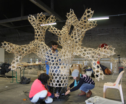 Hours of weaving wood into complex branching forms.