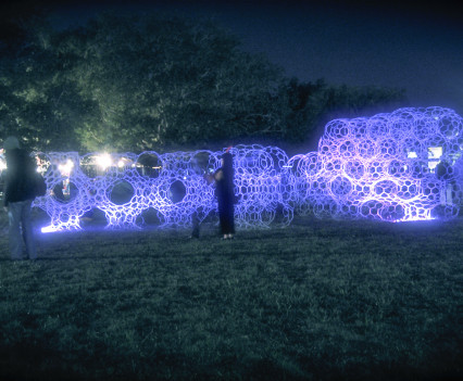 Commissioed by Life-is-Art to create an ephemeral art pavilion for the Voodoo music festival 2009
