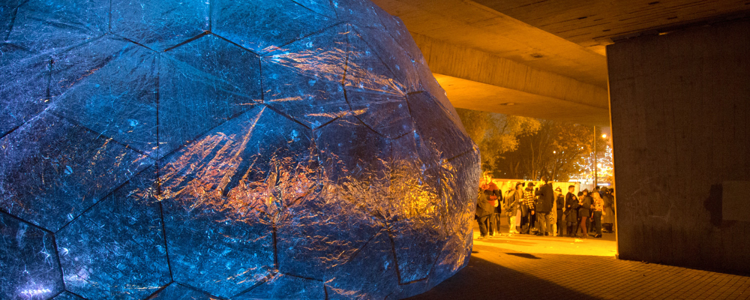 Osmo the 9m sphere inflated below the A13 Flyover in London